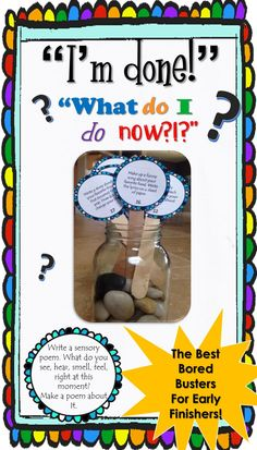 """""""I'm Done Now What Do I Do Bored Busters"""" activity circles! These 30 prompts will keep your quick finishers busy! Classroom Tools, Autism Classroom, Future Classroom, Classroom Organization, Behavior Management, Classroom Management, Class Management, Teaching Tools, Teaching Resources"""