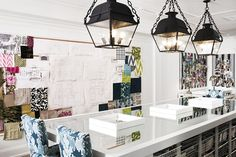 Megan Winters' Office with iron lanterns, glossy white mirrored island, wire storage baskets and stools upholstered in Kelly Wearstler Bengal Bazaar fabric in Graphite - by Megan Winters via Mix and Chic