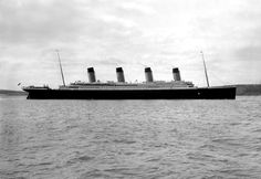 RMS Titanic presents an impressive silhouette from the starboard side, April 1912