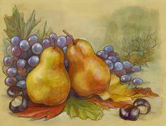 Fall pears & grapes still life by Soni Alcorn-Hender