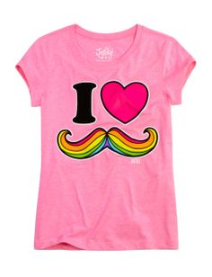 I Love Mustache Graphic Tee | Girls Graphic Tees Clothes | Shop Justice