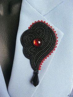 "Купить Брошь ""Кармен"" - черный, красный, красно-черный, черно-красный, брошь-цветок, брошь"