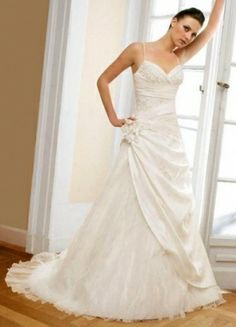 A-line Strapless Embroidery Sleeveless Chapel Train Organza  Unique Wedding Dress