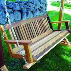 WoodCountry Cabbage Hill Porch Swing Finish: Cedar Stain, Size: H x - W x D Outside Swing, Porch Swing With Stand, Bench Swing, Patio Swing, Porch Swings, Outdoor Swing Seat, Swing Top, Backyard Patio, Cedar Stain