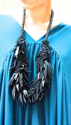 Купить Украшение из натуральной кожи Petal - черный, колье, колье из натуральной кожи, стильное украшение