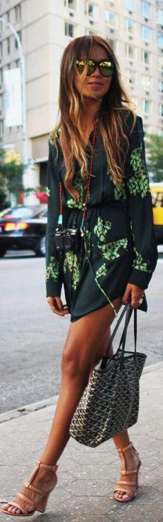 Fashion trends   Street floral dress   Goyard bag   nude scrappy heels