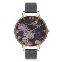 Winter Garden Hydrangea Black & Rose Gold Watch | Olivia Burton London
