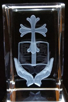 Cross, Bible and Hands - Religion 3D Crystals - Ovid Gifts