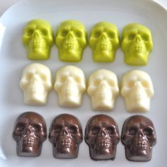 Chocolate Skulls Belgian Chocolate Brown Green by NicolesTreats