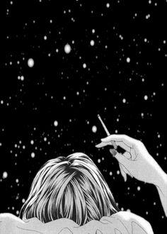 femme, fumer, ciel, etoiles