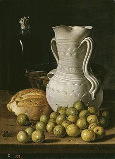 Luis Egidio Meléndez  Bodegón con peritas, pan, alcarraza, cuenco y frasca 1760 Óleo/Lienzo, 47,8 cm x 34,6 cm  © Museo Nacional del Prado