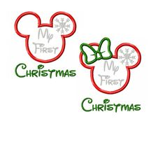 Mickey and Minnie Miss and Mister Mouse Snowflake My First Christmas Applique Digital Instant Download