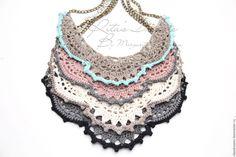 Купить Колье из льна ажурное двухцветное вязаное, серый белый черный розовый