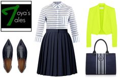 """Neon + Stripes = Prim and Proper?"" by latoyacl ❤ liked on Polyvore"