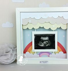 Rainbow Baby | Sonogram | Baby Scan Photograph Frame | Rainbow | New Baby | Nursery Decor | Pink Puffin Crafts