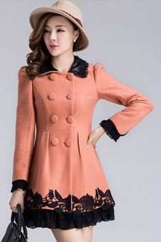 Flower Double-breasted A-line Coat #ShopSimple #coat