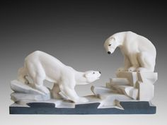 "French Art Deco Ceramic Bear Couple ""sur la banquise"" by Charles LEMANCEAU at Sainte-Radegonde's (France) 1935 - http://www.artdecoceramicglasslight.com/makers/lemanceau-charles/ref-08804---french-art-deco-ceramic-bear-couple-sur-la-banquise-by-charles-lemanceat-at-sainte-radegonde-s-france-1935"