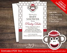 Instant Download Sock Monkey Invitations Editable Pdf 4x6 Red