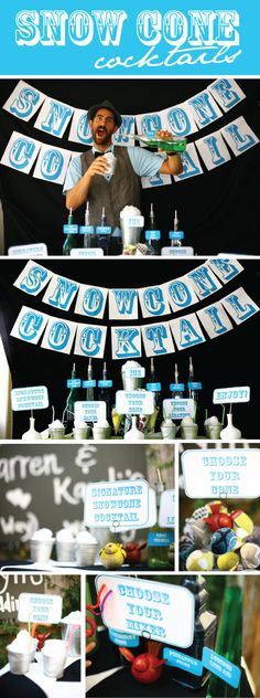 DIY Snow Cone Cocktail bar.