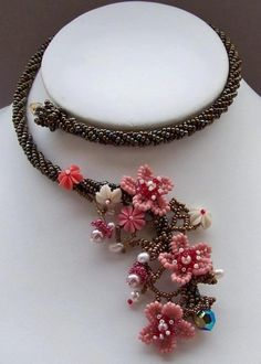 Aurelio Castaño, Cherry Blossom Necklace. Not bead crochet I believe but would work well in it.