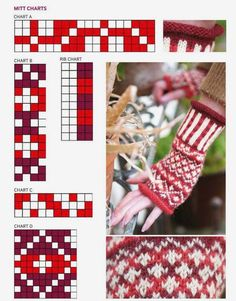 Tapestry Crochet Patterns, Fair Isle Knitting Patterns, Knitting Charts, Knitting Stitches, Knitting Yarn, Crochet Mittens, Mittens Pattern, Wrist Warmers, Hand Warmers