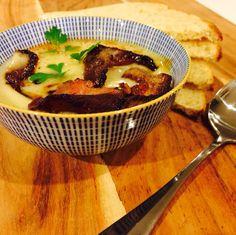Cauliflower Soup - stock, bay leaves, garlic, onion, cauliflower, cream, salt, pepper, nutmeg, parsley, bacon, bread...