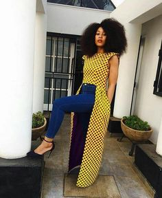 Latest Ankara Tops with Jeans Styles - iFashy African Print Dresses, African Fashion Dresses, African Dress, African Fabric, Ankara Fashion, African Prints, African Clothes, Ankara Fabric, African Attire