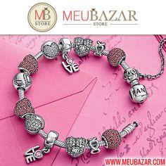 Bracelete Estilo Pandora, temos lindos pavês em formato de charms, clipes, berloques e muito mais, vem ver! http://meubazar.com