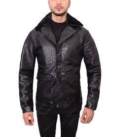 persona with the #EmbossedCrocodile Jacket that is rocking. Lambskin leather material and stagnant façade fabrication for solid outlooks gives #supreme qualit  #dashing #mens #leatherJacket #fashion #love #menswear Lambskin Leather, Leather Jacket, Motorcycle Jackets, Fur Collars, Leather Material, Crocodile, Persona, Supreme, Menswear