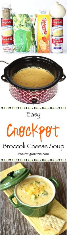 Easy Crockpot Broccoli Cheese Soup Recipe So many bad-for-you things it has to taste great! recipes for slow cooker Crock Pot Food, Crockpot Dishes, Crockpot Meals, Easy Crockpot Soup, Breakfast Crockpot, Slow Cooker Recipes, Soup Recipes, Cooking Recipes, Recipies