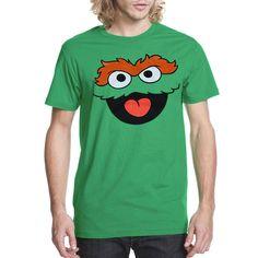 Sesame Street Oscar The Grouch Face Adult T-Shirt