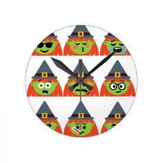 witch All Emoji Halloween Round Clock - halloween decor diy cyo personalize unique party