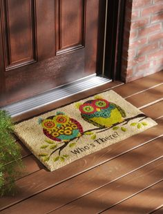 Greet your guests with this fun welcome mat! The shades of brown, green, teal and pink make this Rubber Owl Doormat perfect for spring.