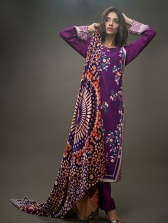 Silk Velvet VL-36 Shop Now: https://www.gulahmedshop.com/products/purple-silk-velvet-vl-36