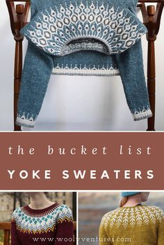 The Bucket List: Yoke Sweaters - Wooly Ventures - Diy Crafts Fair Isle Knitting Patterns, Knitting Blogs, Sweater Knitting Patterns, Knitting Socks, Knit Patterns, Baby Knitting, Knitting Projects, Knitting Tutorials, Free Knitting