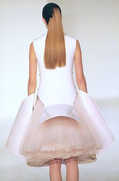 Sculptural Fashion - hard white contours juxtaposed with soft feminine textures; wearable art // Hussein Chalayan