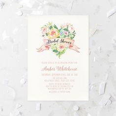 Spring Floral Bridal Shower Invitation Printable Blush Pink Floral Bridal Shower Invite Floral Heart Bridal Shower Invite Blush Floral 262 by MossAndTwigPrints on Etsy