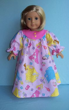 American Girl Doll or 18 inch doll gown.  Disney  Princess Novelty Print.