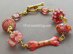 Raspberry Pink Dog Bone Bracelet Lampwork Copper Gold at For Love of a Dog