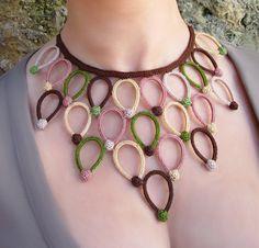 NYMPH  Flower petal crochet necklace fiber by GiadaCortellini, €65.00
