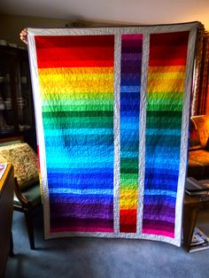 This quilt was made up of a jelly roll.  This was a roll of Moda's Brights.  I loved how they looked on the roll, so I just put them togethe...
