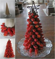 Tasty strawberry and chocolate Christmas tree. Have a blast with your sweet Christmas treats with this mountain of strawberries arranged as a Christmas tree on a chocolate cone. Tabletop Christmas Tree, Noel Christmas, Christmas Goodies, Christmas Desserts, Christmas Treats, Christmas Baking, Holiday Treats, Xmas Tree, Christmas Buffet