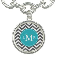 Gray and Peacock Teal Zigzags Monogram Bracelets