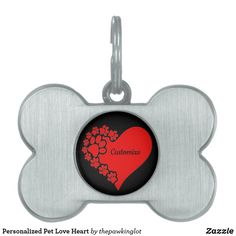 Personalized Pet Love Heart Pet ID Tag Pet Id Tags, Creature Comforts, Four Legged, Christmas Card Holders, Pet Shop, Love Heart, Colorful Backgrounds, Vibrant Colors, Pets