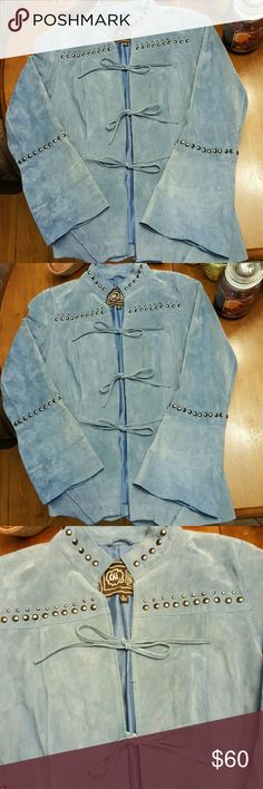 Blue suede jacket, 100% genuine leather! A great find!  Beautiful blue, suede jacket, gorgeous condition, has 3 ties on the front, scalloped bottom, and flare sleeves. Accentuated with pewter colored buttons. Chi by Faichi  Jackets & Coats