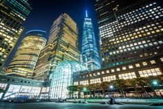 1 World Trade Center and buildings in Battery Park City at night, in Lower Manhattan, New York.