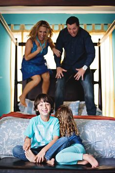 Uh oh! mom and dad are jumping on the bed