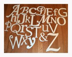 Wooden Alphabet Letters, Unfinished Wood Letters in Various Fonts and Sizes, Complete Set