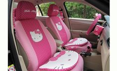 LICENSED PINK HELLO KITTY CAR SEAT COVERS Designed to protect the seats against spills, stains, fading, tearing, dirt, crumbs and pet hair Covers up as well as protects the car's existing seats with seat covers that match the manufacturer's original look and feel Improves comfort and styling Includes 2 Front Seat Covers and 1 Back Seat Cover