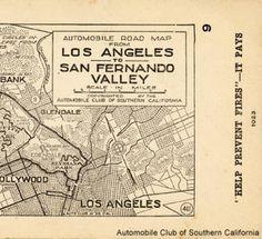 San Fernando Valley California Map circa 1923 Burbank showing Van Nuys etc.